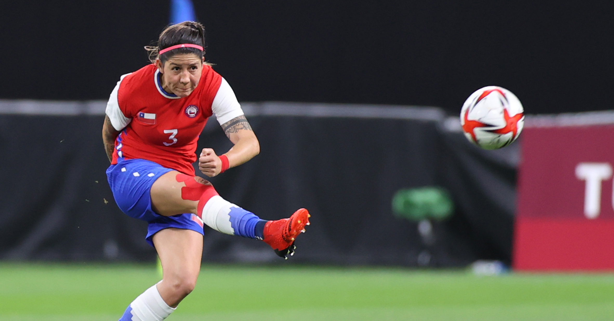 SAPPORO, JAPAN - JULY 24: Carla Guerrero #3 of Team Chile passes the ball during the Women's First Round Group E match between Chile and Canada on day one of the Tokyo 2020 Olympic Games at Sapporo Dome on July 24, 2021 in Sapporo, Hokkaido, Japan. (Photo by Masashi Hara/Getty Images)